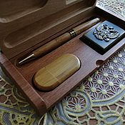 Сувениры и подарки handmade. Livemaster - original item Wooden flash drive, pen, lighter with engraving, set 3 in 1. Handmade.