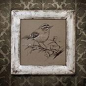Картины и панно ручной работы. Ярмарка Мастеров - ручная работа картина Серая птичка (в рамочке состаренной вручную, шебби шик, серый). Handmade.