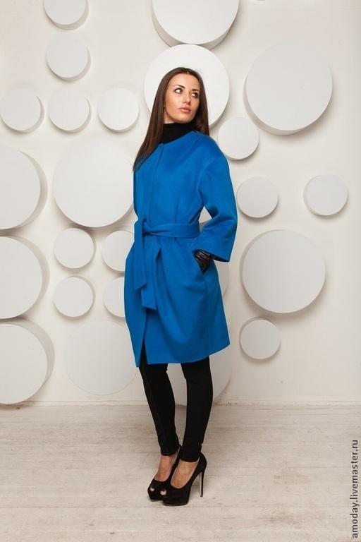 Пальто шерстяное синее AMODAY