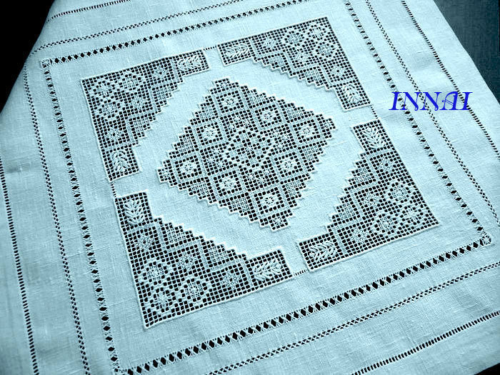 linen white tablecloth with hand embroidered white on white, strojeva embroidery, table decorations, decoration, Ahura embroidery, Hardanger.