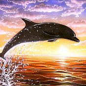Картины и панно ручной работы. Ярмарка Мастеров - ручная работа Фотокартина - Дельфин в прыжке на фоне морского заката. Handmade.