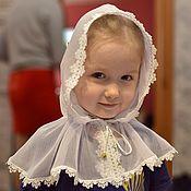 Работы для детей, ручной работы. Ярмарка Мастеров - ручная работа платок-капор для церкви с кружевом. Handmade.