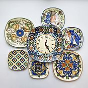 Посуда handmade. Livemaster - original item The painted porcelain.The collection of plates with clock