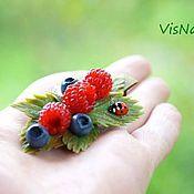 """Украшения ручной работы. Ярмарка Мастеров - ручная работа Заколка -зажим """"Лето было малиновым..."""". Handmade."""