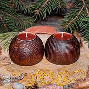 Для дома и интерьера handmade. Livemaster - original item Wooden textured candlesticks made of pine wood-2 pcs. WC21. Handmade.