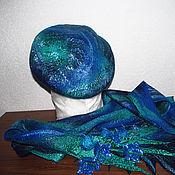 Аксессуары ручной работы. Ярмарка Мастеров - ручная работа Берет и бактус сине-голубой с колокольчиками. Handmade.