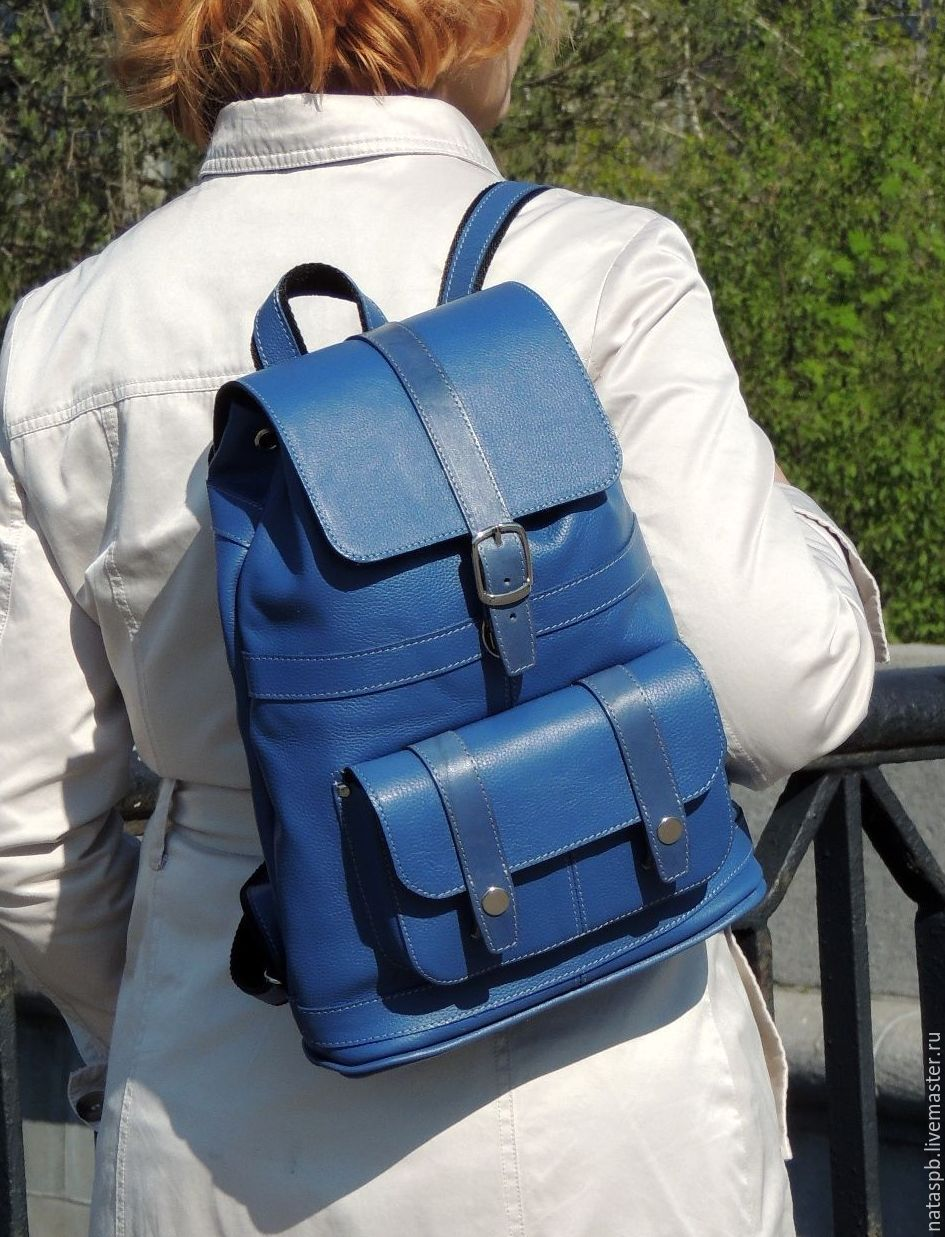 415922d0881e Backpack leather womens blue Eilat – shop online on Livemaster with ...