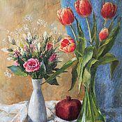 Картины и панно handmade. Livemaster - original item Still life with pomegranate. Oil painting 45h35 cm. Handmade.