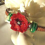 Украшения ручной работы. Ярмарка Мастеров - ручная работа Браслет красный мак    в стиле регализ. Handmade.