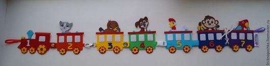 """Развивающие игрушки ручной работы. Ярмарка Мастеров - ручная работа. Купить Развивающая игрушка """"Паровозик"""". Handmade. Комбинированный, мелкая моторика"""