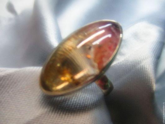 кольцо `Афелия` цена 3000 турмалин полихромный,пейзажный,редкость!