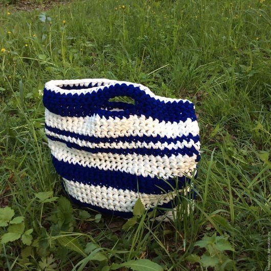 Женские сумки ручной работы. Ярмарка Мастеров - ручная работа. Купить Сине-белая пляжная сумка. Handmade. Тёмно-синий