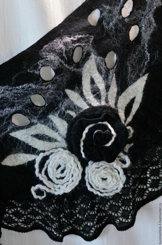 """Шарфы и шарфики ручной работы. Ярмарка Мастеров - ручная работа. Купить Бактус """"Черная пепельная роза"""". Handmade. Чёрно-белый"""