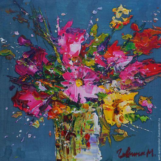 Картины цветов ручной работы. Ярмарка Мастеров - ручная работа. Купить Букет. Handmade. Разноцветный, цветы, букет, картина для интерьера