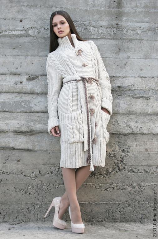 """Верхняя одежда ручной работы. Ярмарка Мастеров - ручная работа. Купить Пальто """"Светлана"""". Handmade. Бежевый, пальто вязаное"""