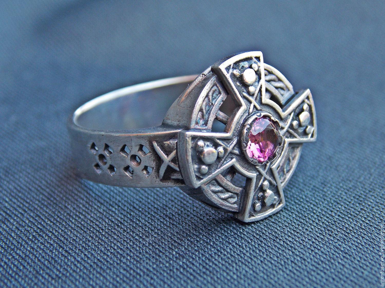 Кольцо `Кельтский Крест` в серебре с турмалином