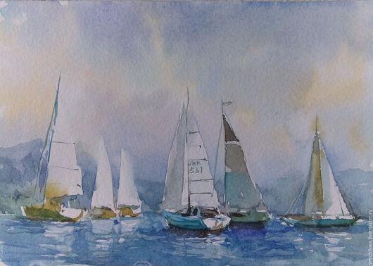 """Пейзаж ручной работы. Ярмарка Мастеров - ручная работа. Купить Акварель  """"Белые парусники"""". Handmade. Голубой, картина с лодками"""