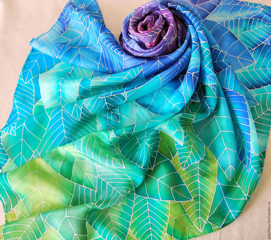 батик-платок, платок из натурального шелка, ручная роспись