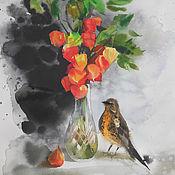 """Картины и панно ручной работы. Ярмарка Мастеров - ручная работа """"Физалисы и дрозд"""" акварель. Handmade."""