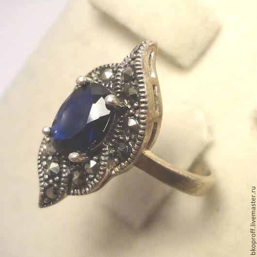Кольца ручной работы. Ярмарка Мастеров - ручная работа. Купить Серебряное кольцо 925 пробы сапфир марказит восточный стиль Египет. Handmade.