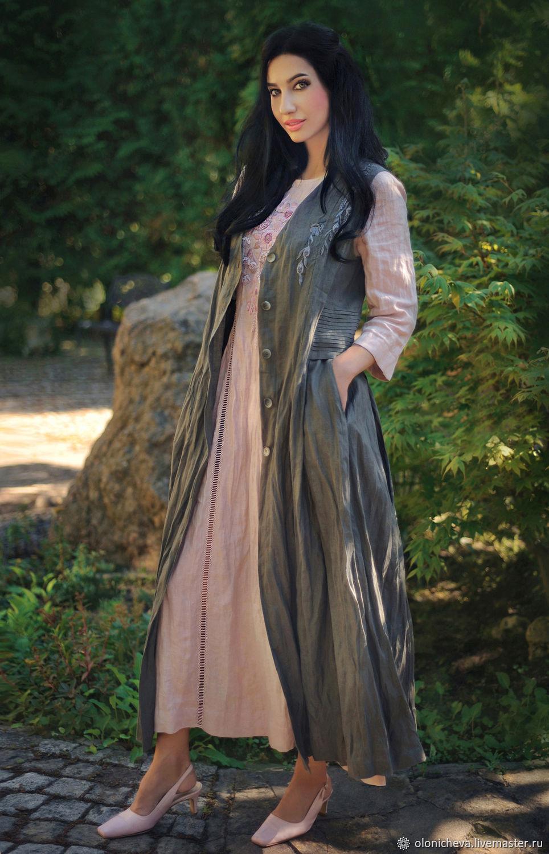 Sleeveless linen coat with grey haze embroidery', Coats, Vinnitsa,  Фото №1