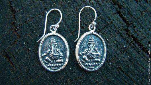 Серьги ручной работы. Ярмарка Мастеров - ручная работа. Купить Серьги Ганеша в овале из серебра 925. Handmade.