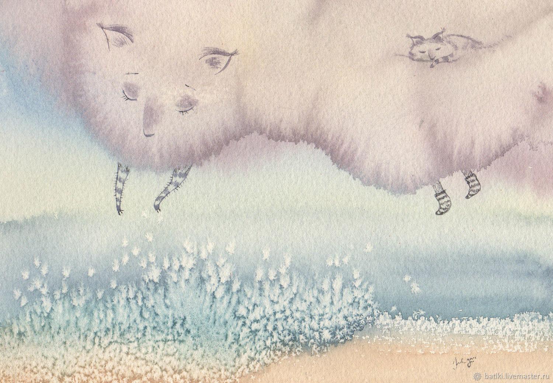 Картина Игра облака с волной. Жикле - акварель, Картины, Санкт-Петербург,  Фото №1