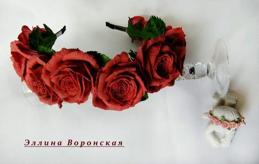"""Диадемы, обручи ручной работы. Ярмарка Мастеров - ручная работа. Купить Ободок из роз """"Карина"""". Handmade. Цветы ручной работы"""