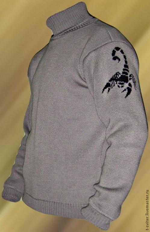 Татуированный свитер - СКОРПИОН, высокий воротник, серый