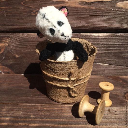 Мишки Тедди ручной работы. Ярмарка Мастеров - ручная работа. Купить Тедди панда из вискозы. Handmade. Чёрно-белый, хендмейд