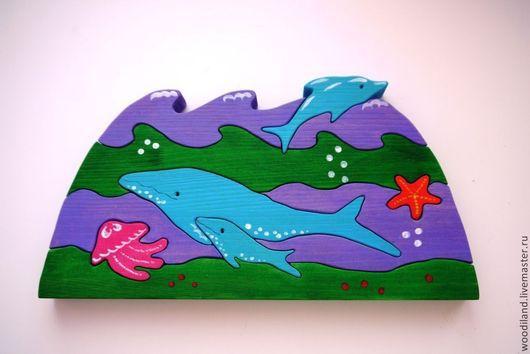 """Развивающие игрушки ручной работы. Ярмарка Мастеров - ручная работа. Купить Головоломка-пазл """"Морские обитатели"""" (цветная). Handmade. Дерево"""