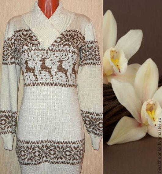 Кофты и свитера ручной работы. Ярмарка Мастеров - ручная работа. Купить Платье - свитер вязаное с норвежским орнаментом 2(пастель). Handmade.