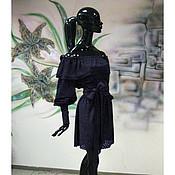 """Одежда ручной работы. Ярмарка Мастеров - ручная работа Платье из мягчайшей замши-стрейч """"Темно-синее бархатистое"""". Handmade."""