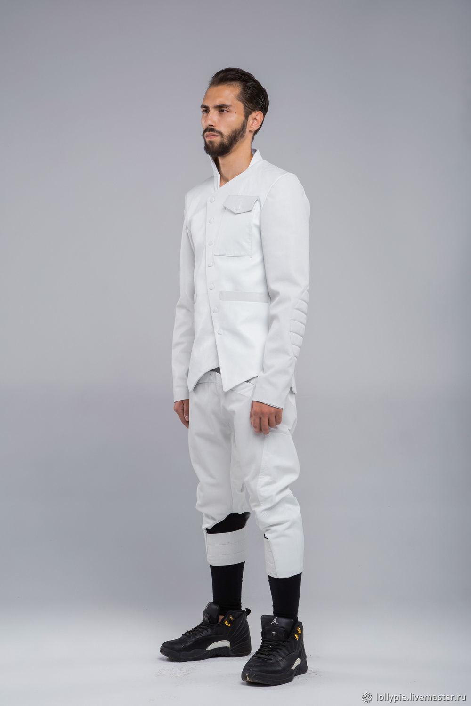 a1c5ba76166dfea Кожаный мужской пиджак белый – купить в интернет-магазине на Ярмарке ...