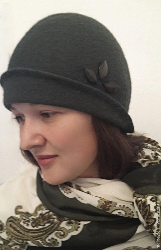 Шляпы ручной работы. Ярмарка Мастеров - ручная работа. Купить Зелень лета валяная шляпка клош. Handmade. Тёмно-зелёный