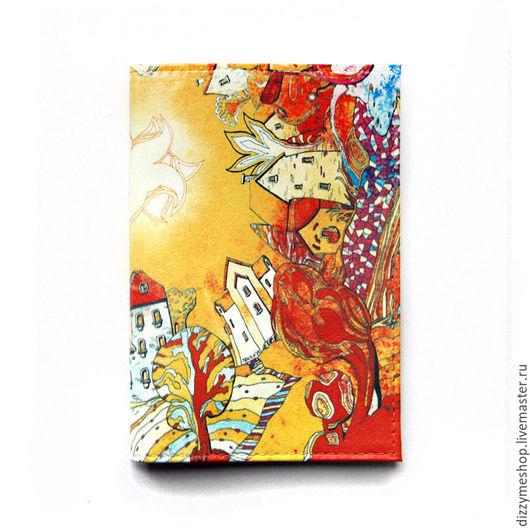 """Обложки ручной работы. Ярмарка Мастеров - ручная работа. Купить Обложка для паспорта """"Зеркальный город Осень"""". Handmade. Оранжевый, домики"""