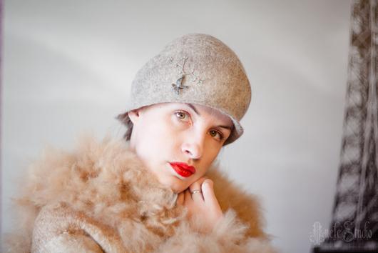 Шляпы ручной работы. Ярмарка Мастеров - ручная работа. Купить Шляпа клош  Ш_14025. Handmade. Серый, валяная шляпка, очаг