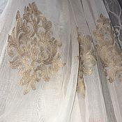 Для дома и интерьера handmade. Livemaster - original item Tulle (ready ) under Linen with beige embroidery. Handmade.