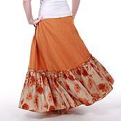 Одежда ручной работы. Ярмарка Мастеров - ручная работа Льняная юбка в пол цвета горчицы. Handmade.