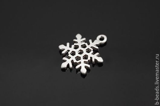 """Для украшений ручной работы. Ярмарка Мастеров - ручная работа. Купить Подвеска """" Снежинка """" родированная. Handmade."""