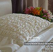 """Для дома и интерьера handmade. Livemaster - original item Bed linen made of satin """"Cream"""". Handmade."""