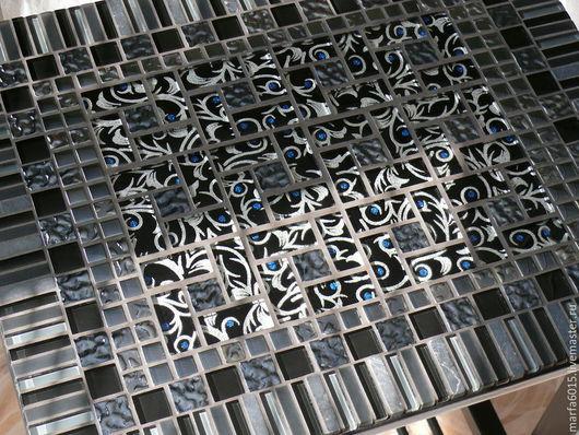 """Мебель ручной работы. Ярмарка Мастеров - ручная работа. Купить """"Узоры"""" журнальный столик с мозаикой. Handmade. Черный, массив сосны"""