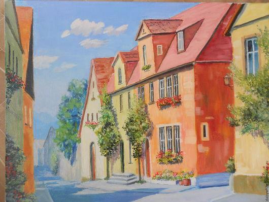 Город ручной работы. Ярмарка Мастеров - ручная работа. Купить Южный городок. Handmade. Рыжий, картина в подарок, картина