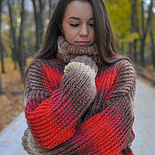 """Одежда ручной работы. Ярмарка Мастеров - ручная работа женский свитер """"Клубничное латте"""". Handmade."""