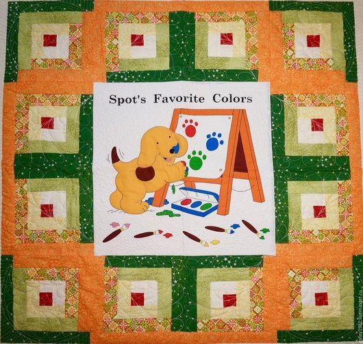 """Для дома и интерьера ручной работы. Ярмарка Мастеров - ручная работа. Купить Детское Лоскутное покрывало. """"Оранжево-зелёное настроение"""". Handmade."""