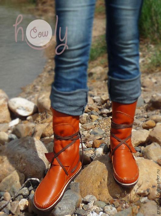 """Обувь ручной работы. Ярмарка Мастеров - ручная работа. Купить Кожаные мокасины """"Hippie Orange"""". Handmade. Мокасины, Обувь из кожи"""