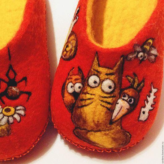 Домашняя обувь.Тапочки валяные. Тапочки домашние. Кошки. Войлочные тапочки.Купить тапочки. Ярмарка мастеров. Ручная работа.Магазин тапочек.Тапки домашние.Тапки