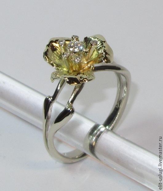 """Кольца ручной работы. Ярмарка Мастеров - ручная работа. Купить Кольцо """"Цветок"""". Handmade. Золотой, кольцо с бриллиантами, комбинированное кольцо"""