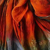 Аксессуары ручной работы. Ярмарка Мастеров - ручная работа Палантин «Рыжая Подружка»  шелк 100% ручное крашение. Handmade.