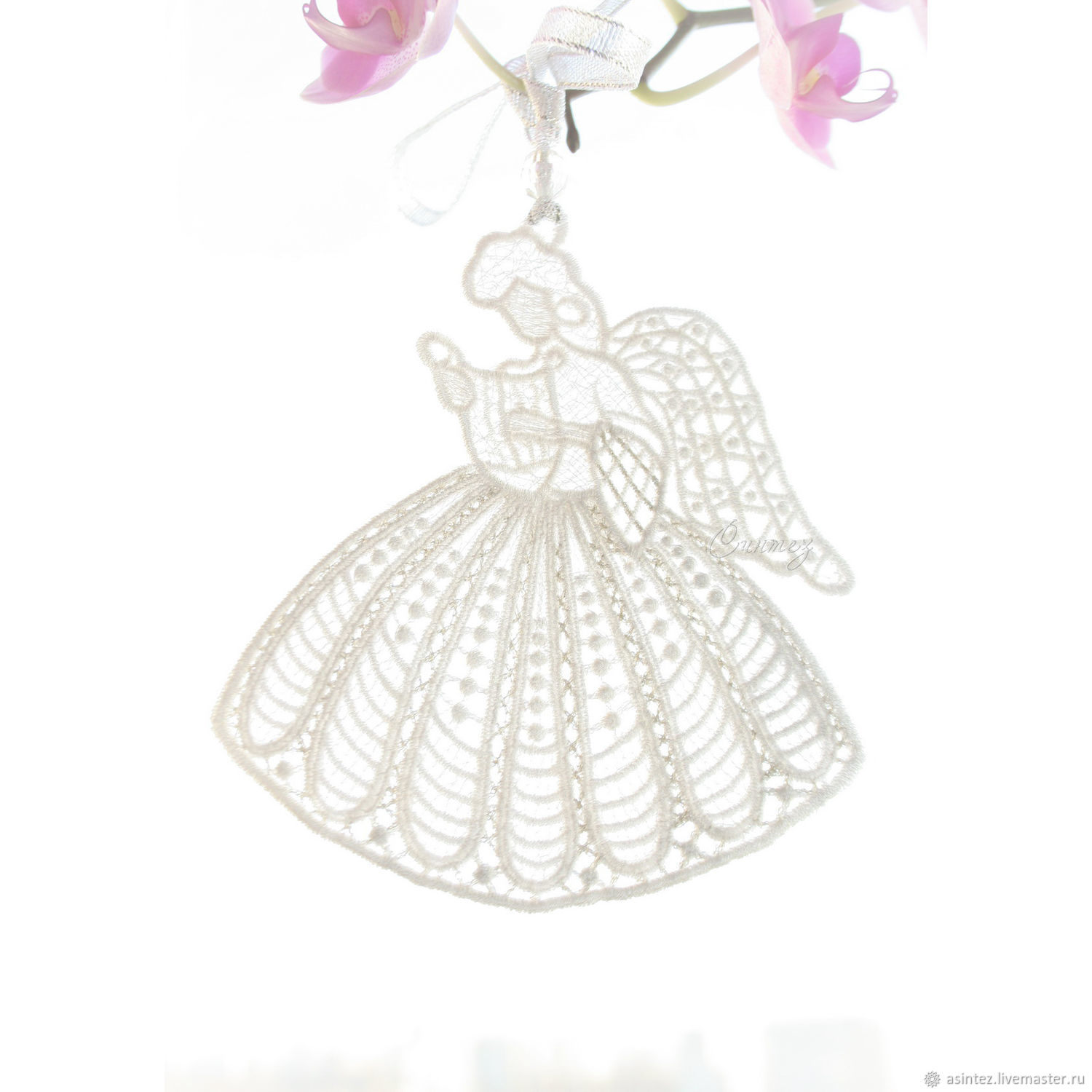 Embroidered pendant angel with harp on happiness, Gift for newborn, Moscow,  Фото №1